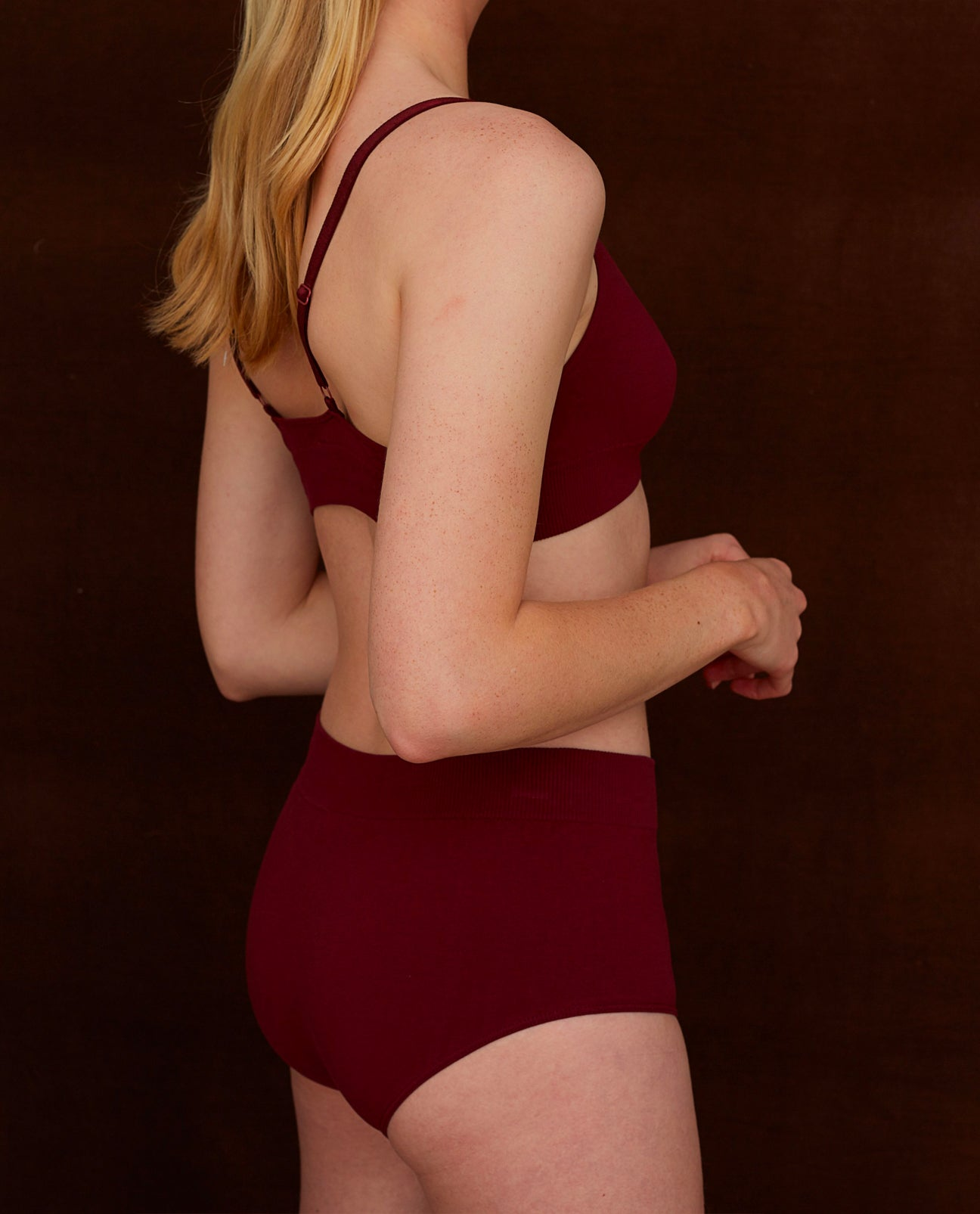 ENDIJA Organic Cotton High Waisted Briefs In Burgundy