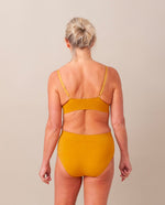 Endija Organic Cotton High Waisted Briefs In Ocre