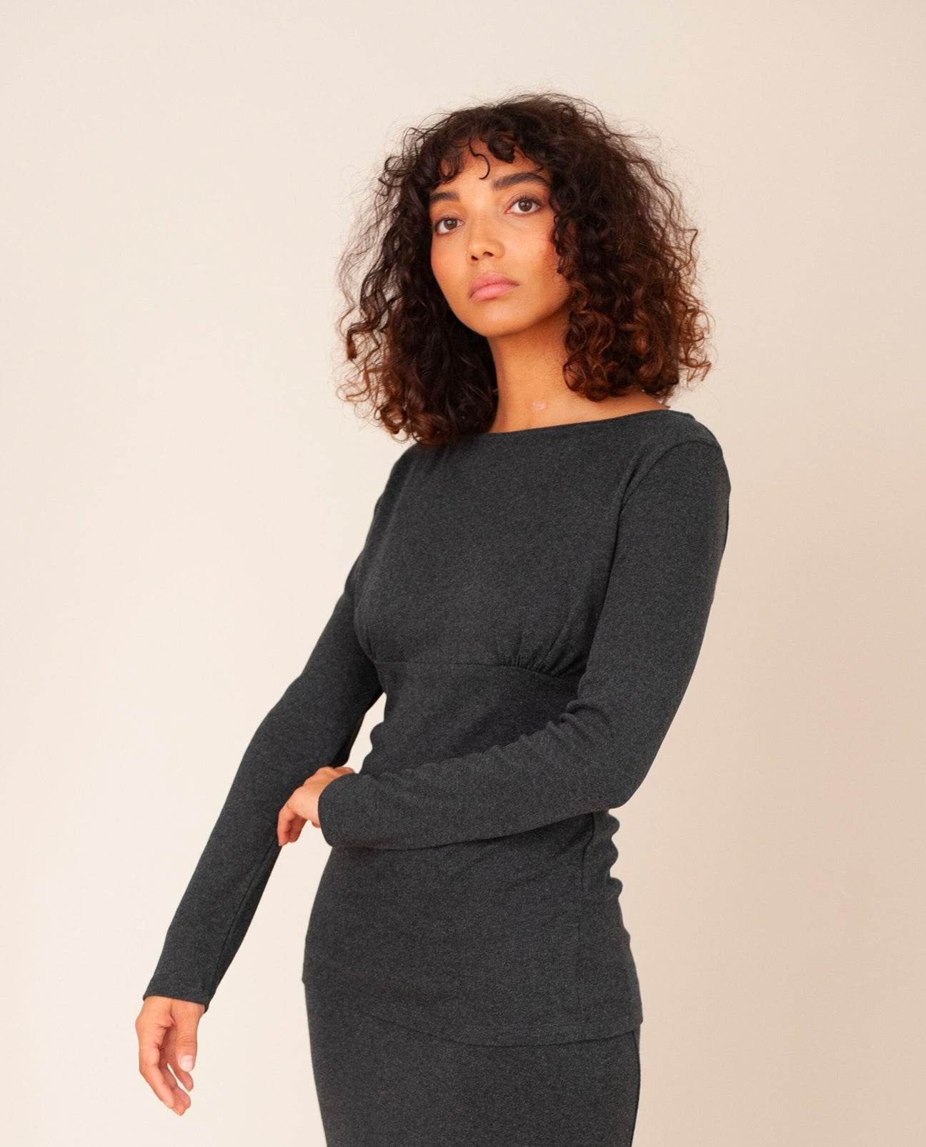 ENID Lyocell Jersey Top In Grey Marl