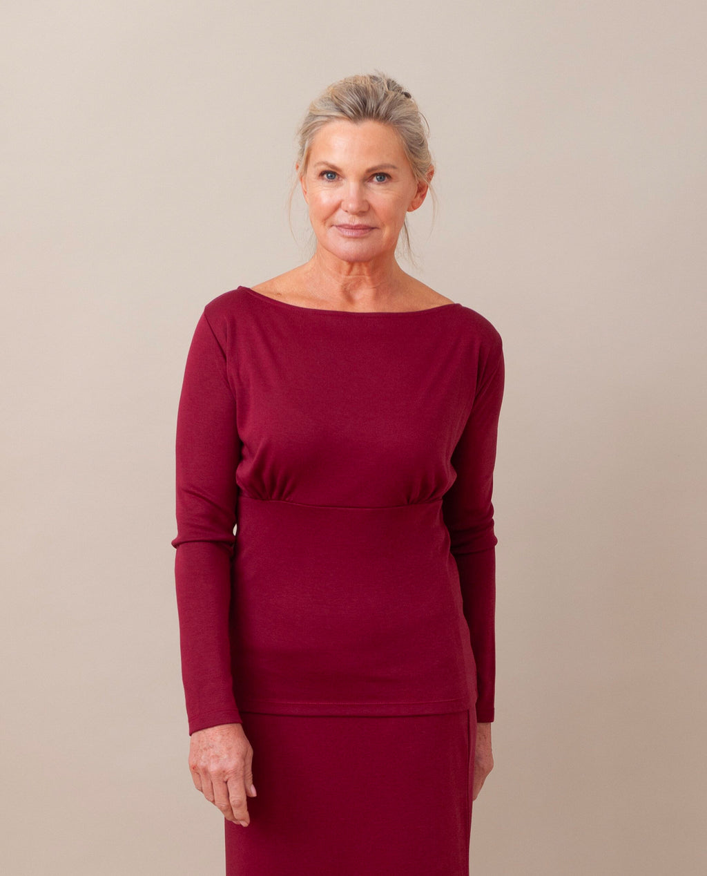 ENID Lyocell Jersey Top In Burgundy