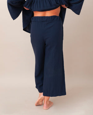 Evora Organic Cotton Trousers In Deep Indigo