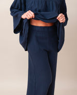 Evora Organic Cotton Trousers In Navy