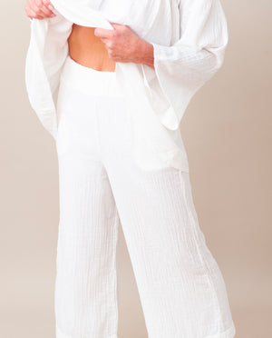 EVORA Organic Cotton Trousers In Off White