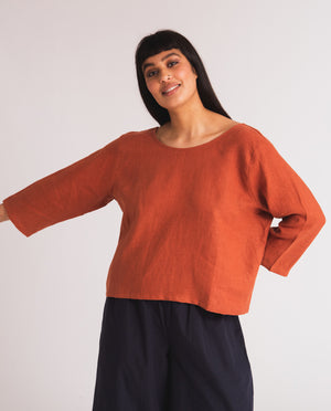 Fabia Linen Top In Clay
