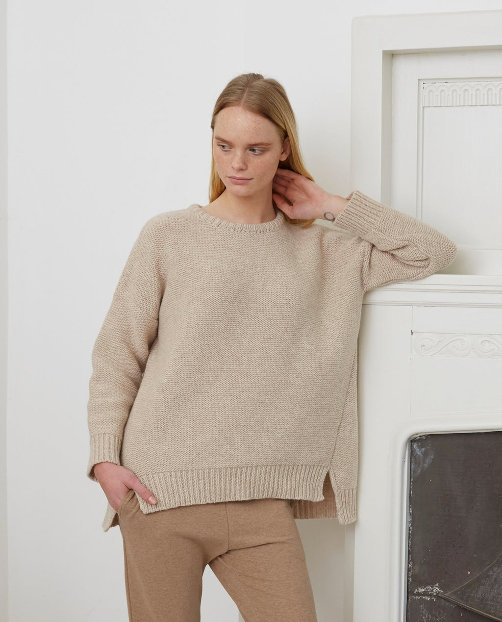 FAYE-MARIE Wool Jumper In Oat