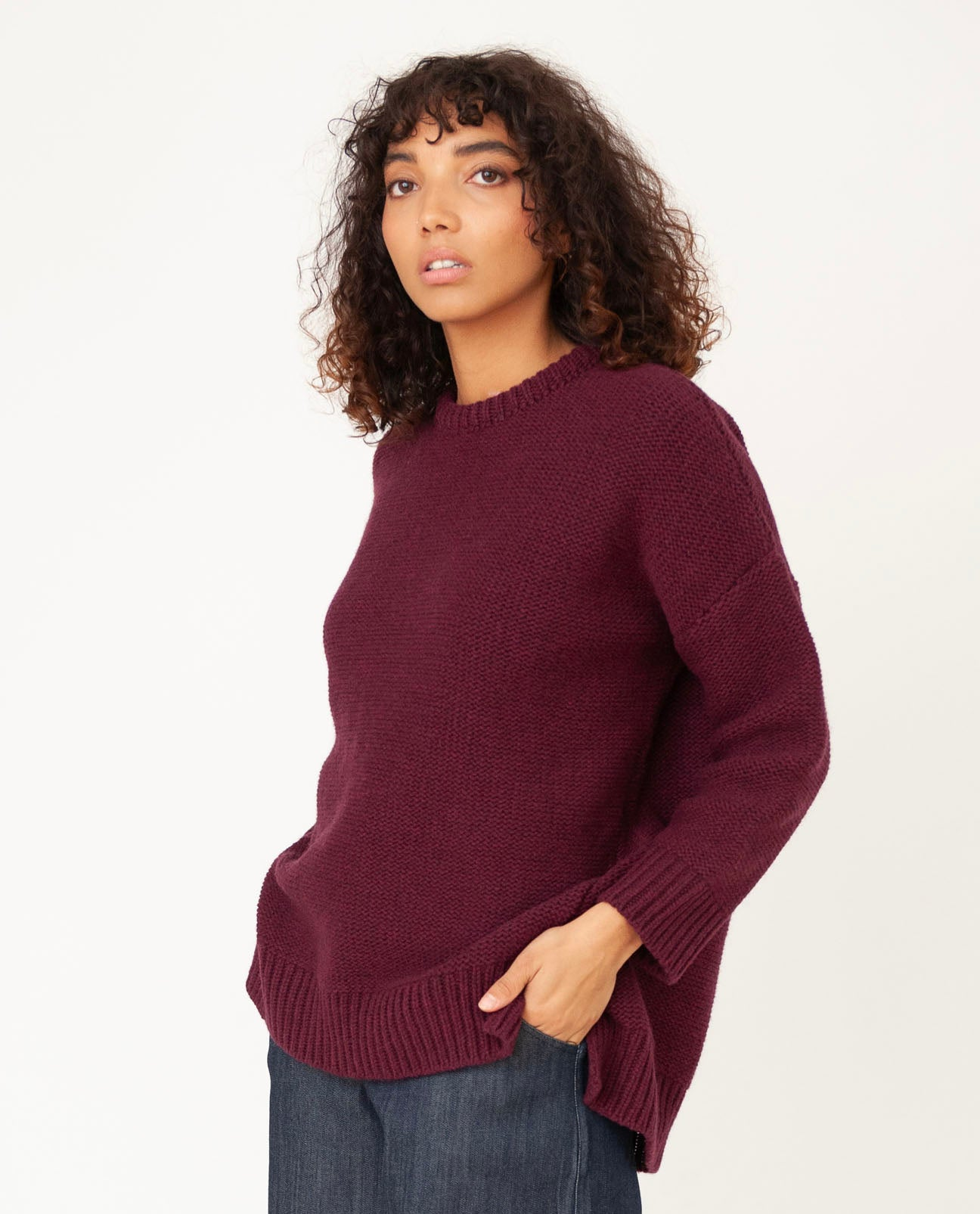 FAYE-MARIE Wool Jumper In Bordeaux