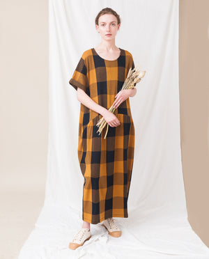 FILIPA-JAY Organic Cotton Dress In Navy And Rust