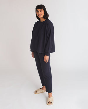 Serenity Organic Cotton Jumper In Navy