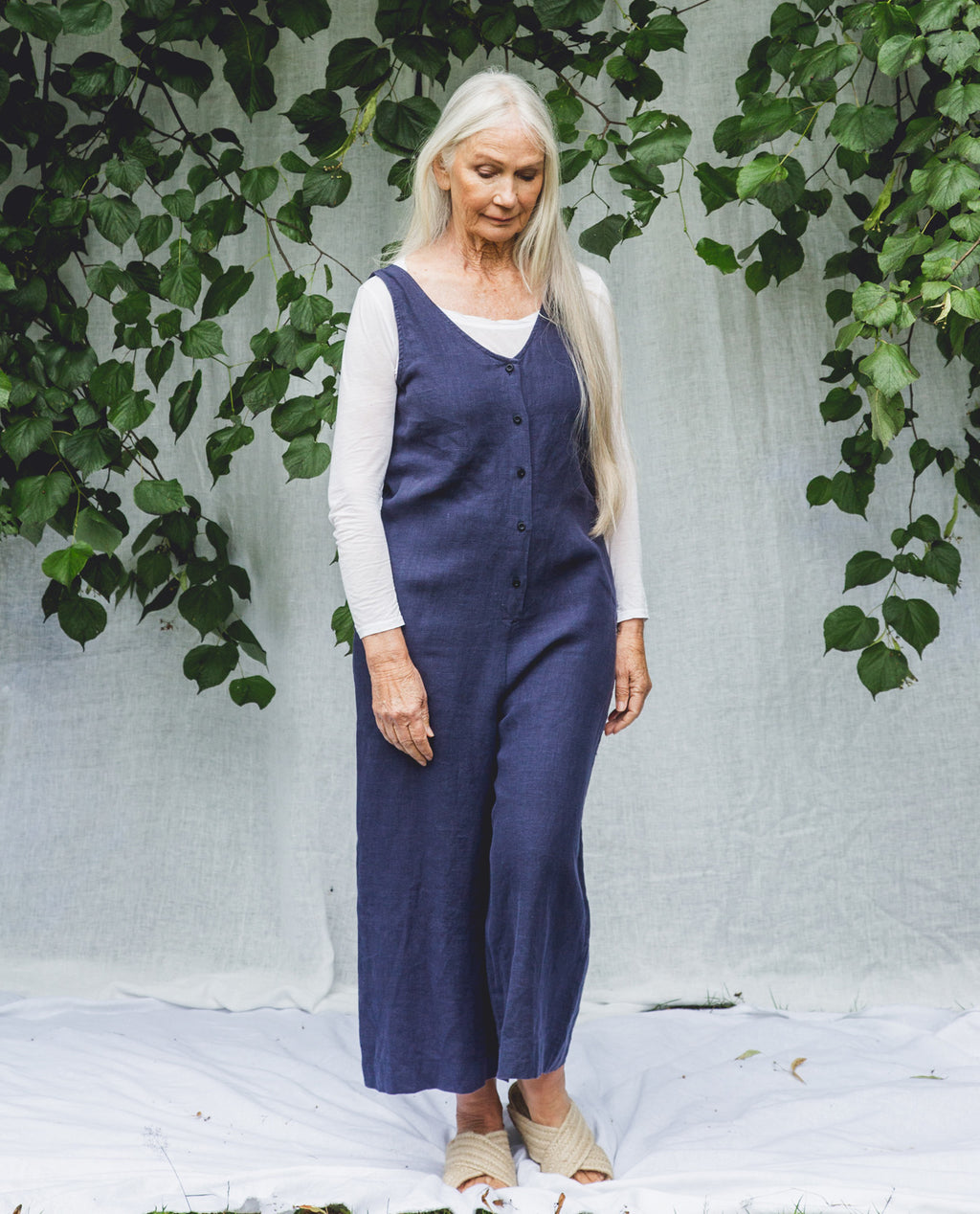 Gianna Linen Jumpsuit In Navy