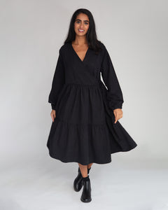 Gwen Organic Cotton & Tencel Dress In Black