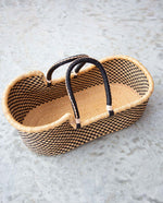 HABIBA Handwoven Moses Basket With Leather Handles