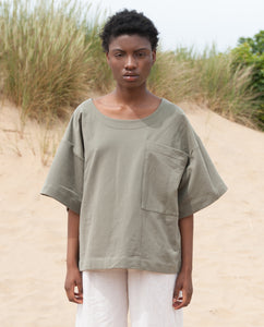 HARRIET Organic Cotton Top In Khaki