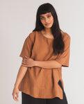 Hayley-May Organic Cotton & Linen Top In Tan
