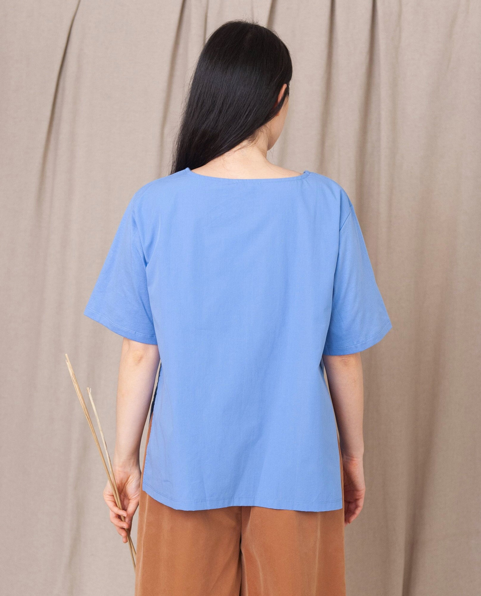 HAYLEY Organic Cotton Top in Cornflower