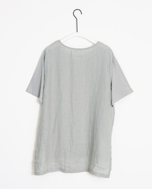 Hayley-May Organic Cotton & Linen Tunic In Dove