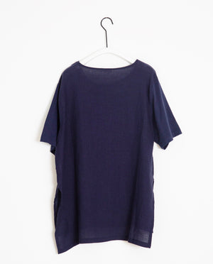 Hayley-May Organic Cotton & Linen Tunic In Midnight