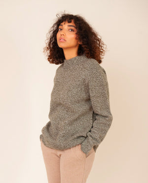 HUNTER Superfine Lambswool Jumper In Dark Green Marl