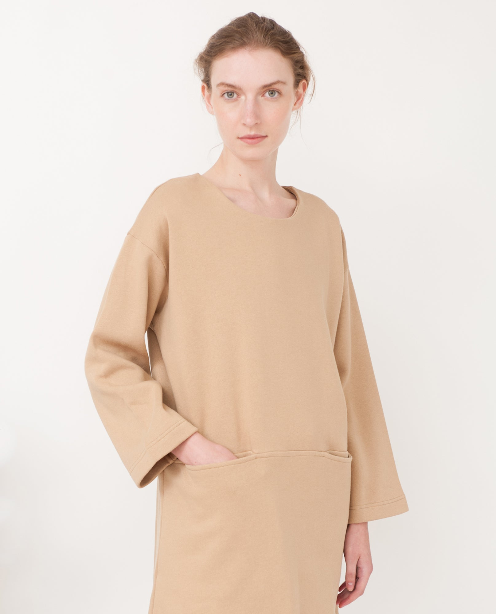 IDA Organic Cotton Sweatshirt Dress In Stone