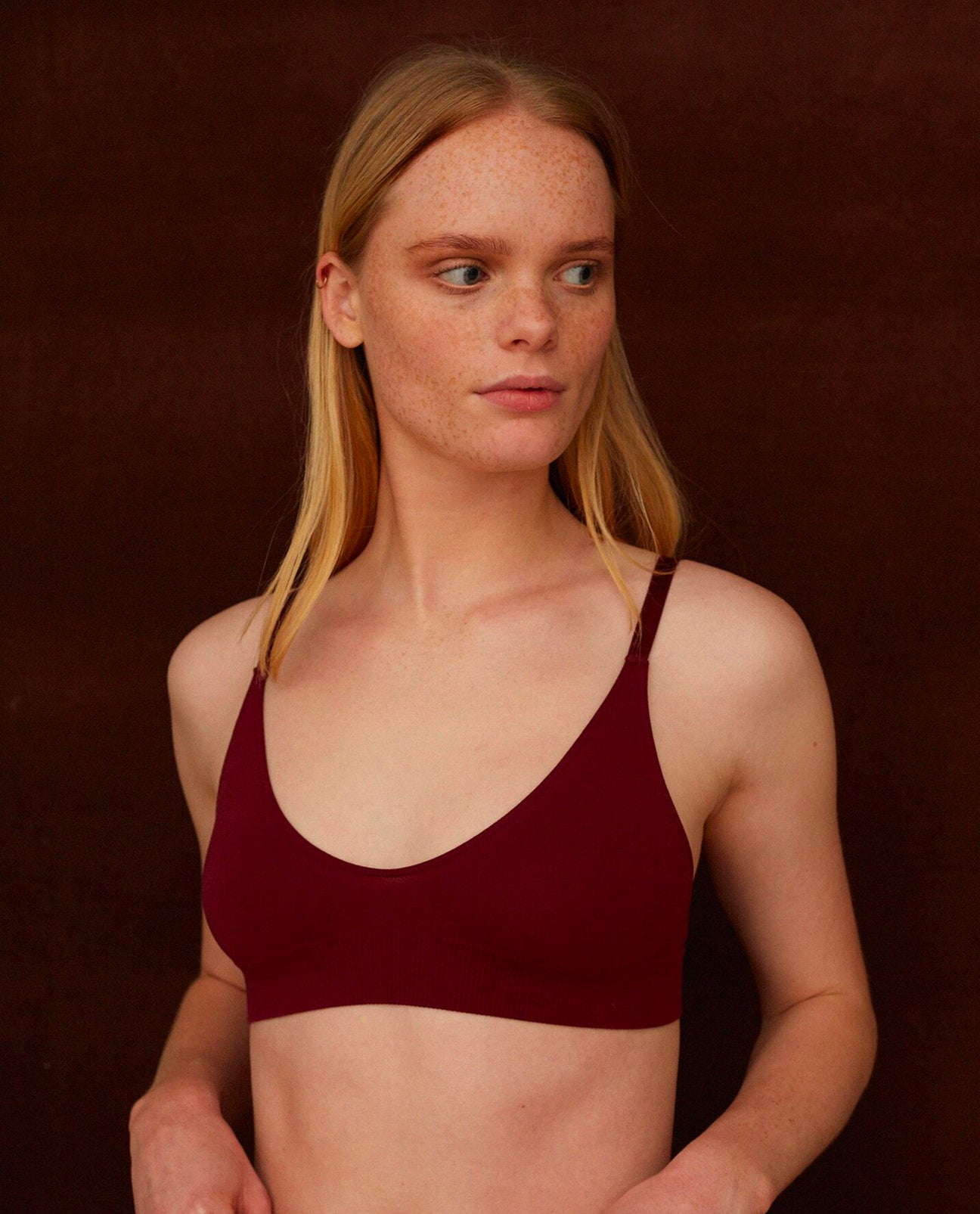 ILZE Organic Cotton Bra In Burgundy
