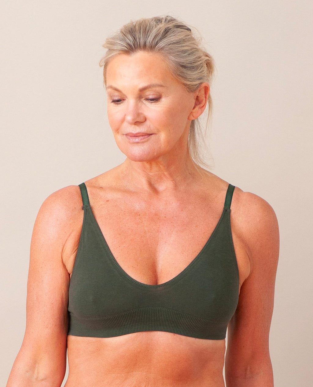 ILZE Organic Cotton Bra In Khaki