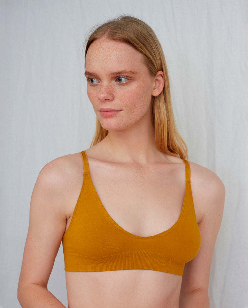 ILZE Organic Cotton Bra In Ocre