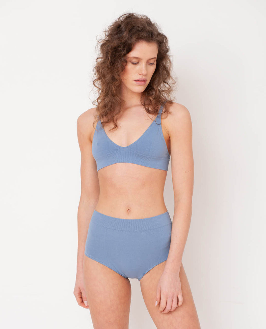 Endija Organic Cotton High Waisted Briefs In Sky