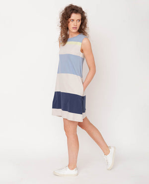 Ivy Organic Cotton Dress In Cool Bold Stripe