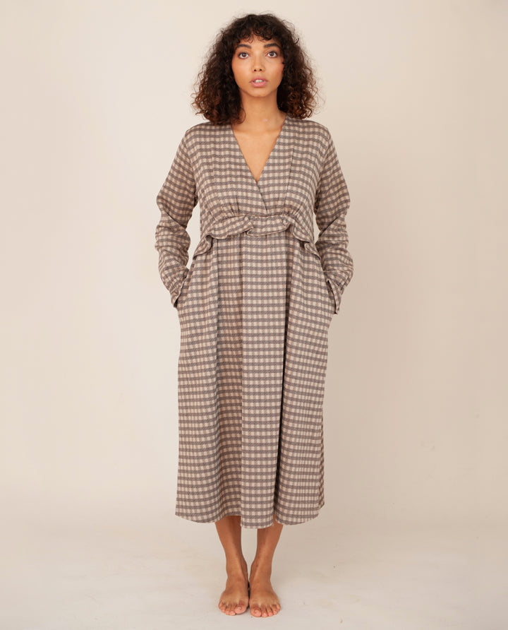 INEZ-JAY Organic Cotton Dress In Mini Brown Check