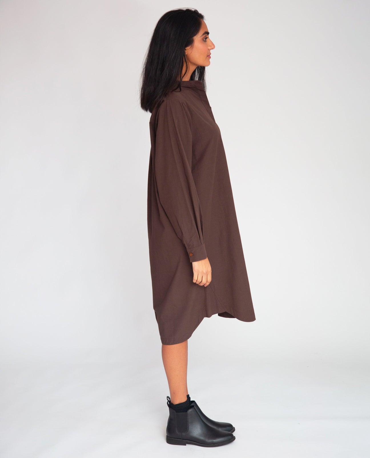 Ingrid Organic Cotton Dress In Chocolate