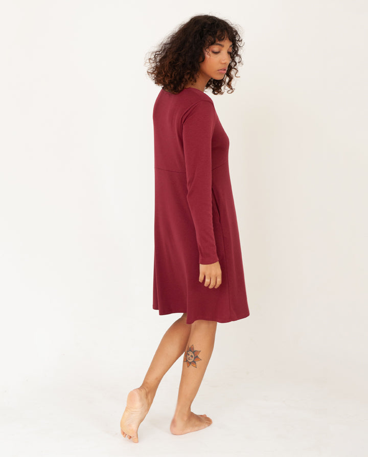 IRIS Lyocell Jersey Dress In Burgundy