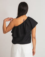 Isabelle Linen Top In Black