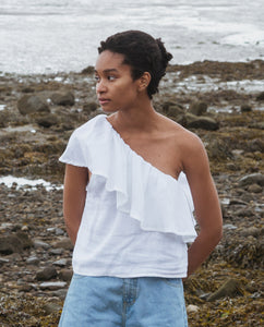 Isabelle Linen Top In Off White