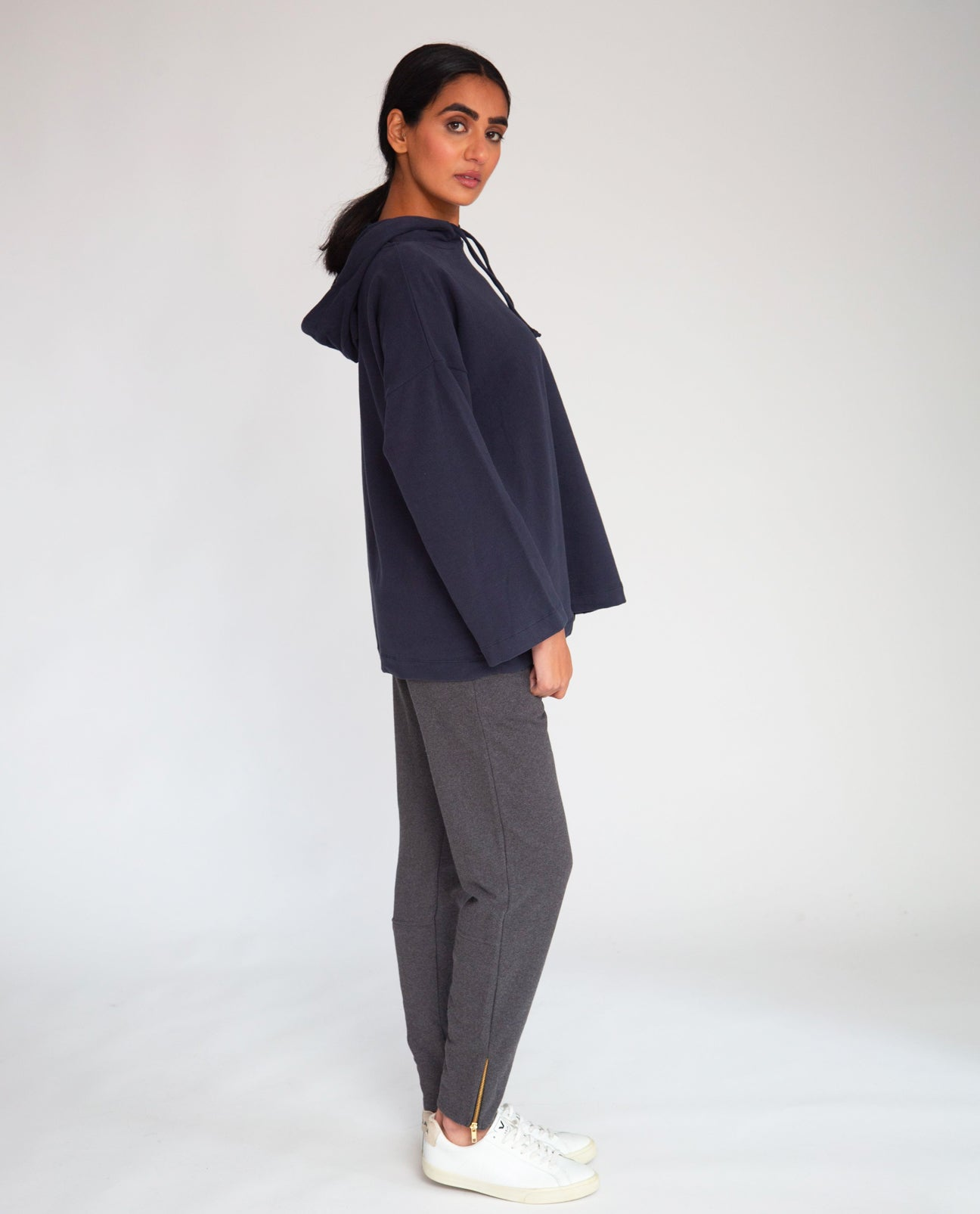 Isla Organic Cotton Trousers In Dark Grey Marl