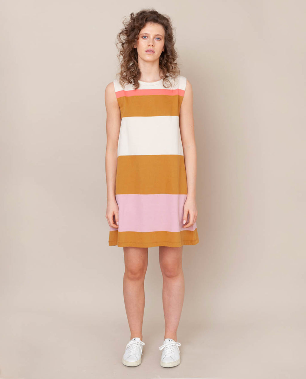 Ivy Organic Cotton Dress In Sunny Bold Stripe