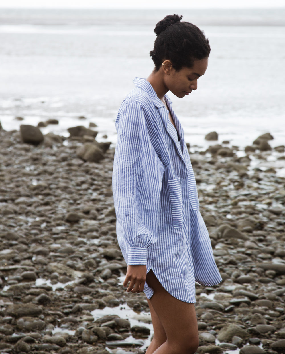 Jacqueline Linen Shirt In Navy Stripe