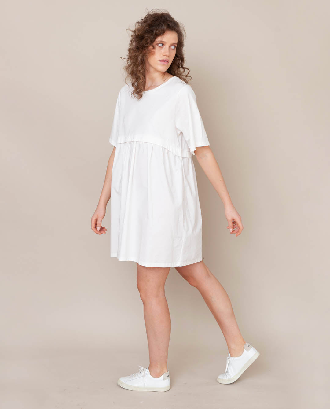 Jaina Organic Cotton Dress In Off White