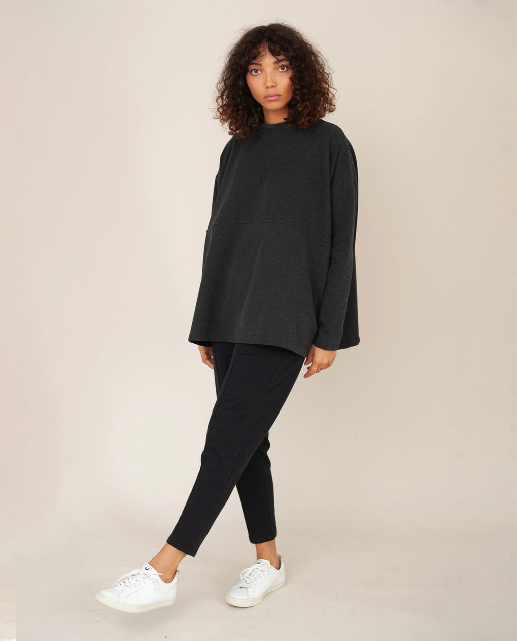JANE Organic Cotton Top In Grey Marl