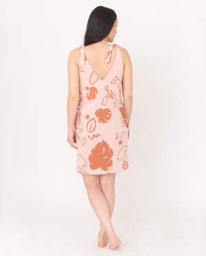 JANET-PAIGE Organic Cotton Dress In Coral And Terracotta