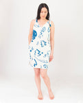 JANET-PAIGE Organic Cotton Dress In Ecru And Blue