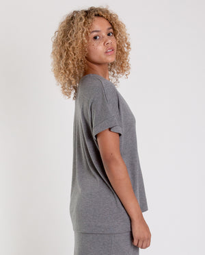 JOYCE-LOU Lyocell And Cotton Top In Grey Marl