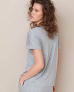 Joyce-Lou Lyocell Jersey Top In Light Grey Marl