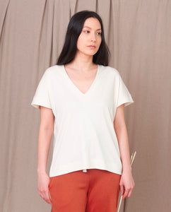 JOYCE-LOU Lyocell And Cotton Top In Ecru