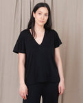JOYCE-LOU Lyocell And Cotton Top In Black