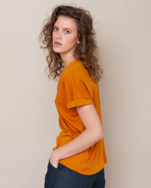 Joyce-Lou Lyocell Jersey Top In Bronze