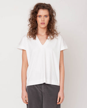Joyce-Lou Lyocell Jersey Top In Off White