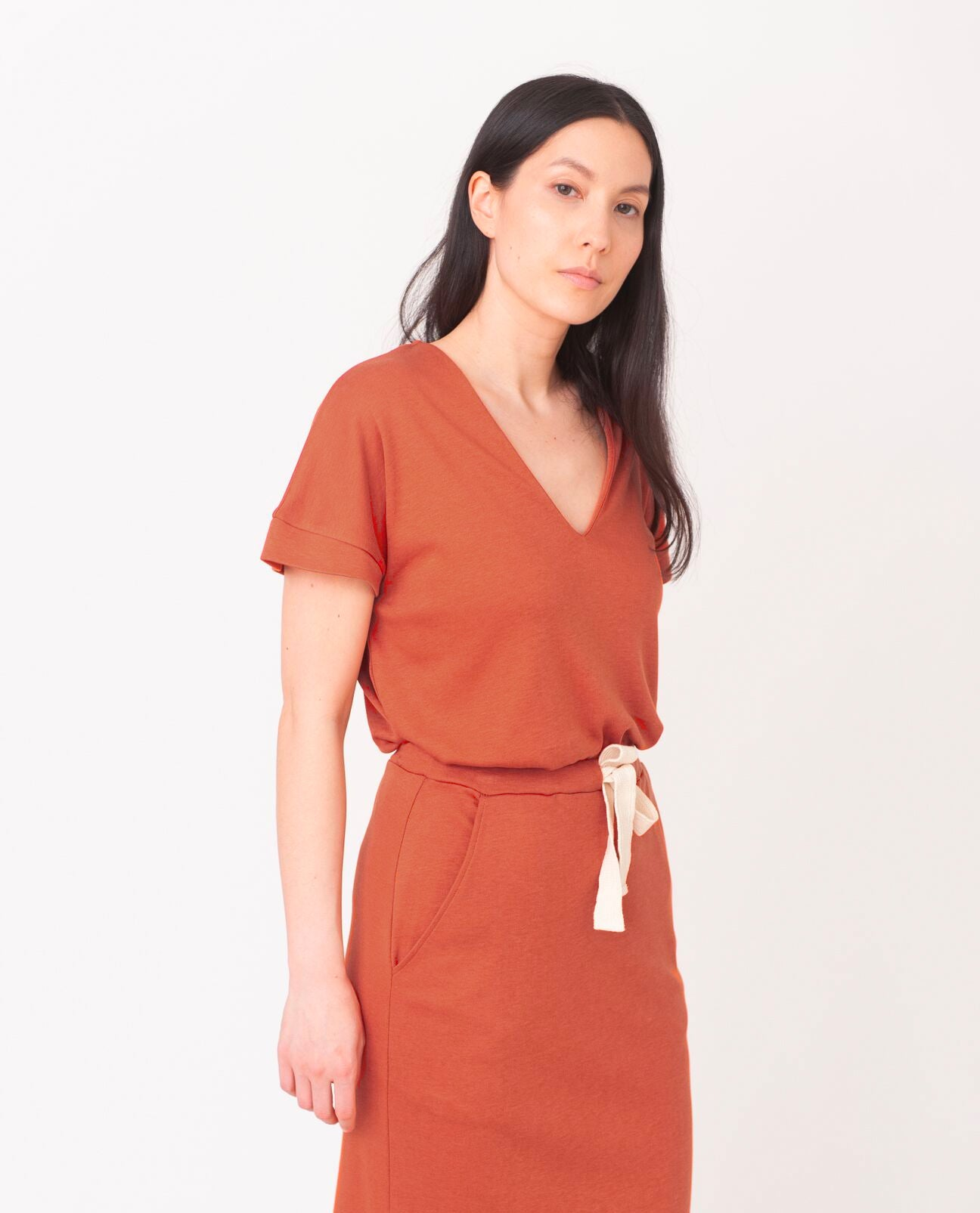 JOYCE-LOU Lyocell And Cotton Top In Madder