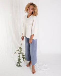 JULIA Organic Cotton Top In Off White