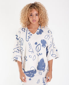 JULIA-PAIGE Organic Cotton Top In Ecru And Blue