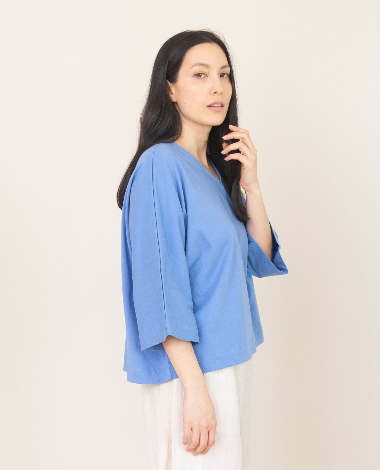 JULIA Organic Cotton Top In Cornflower