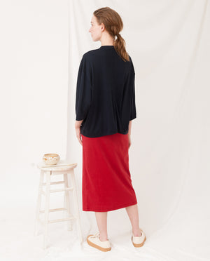 JULIE Lyocell Top In Navy